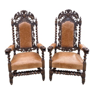Antique French Barley Twist Leather Oak Throne Fireside Chairs - a Pair For Sale