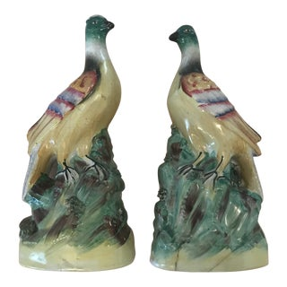 Staffordshire Exotic Bird Figurines - a Pair For Sale