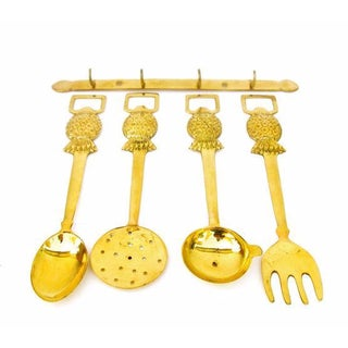 Brass Pineapple Barware Utensil Set- Set of 5