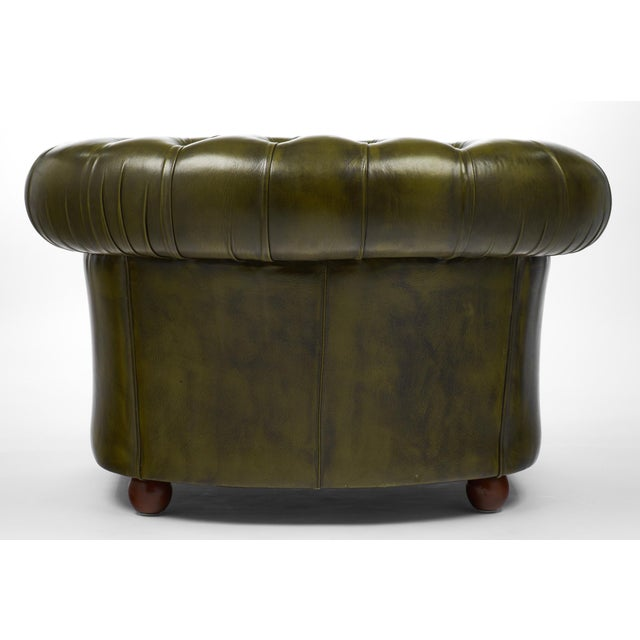 Vintage Chesterfield Green Leather Club Chair For Sale - Image 10 of 11