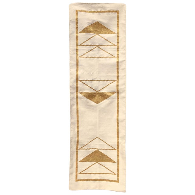 Not Yet Made - Made To Order Geometric Nicole Handwoven Modern Gold Runner Rug, Carpet, Durrie - 2.5' X 8' For Sale - Image 5 of 5