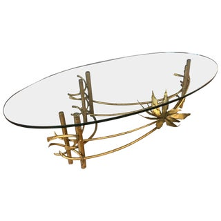 Brutalist Gilt Lotus Coffee Table Oval Glass in the Style of Silas Seandel For Sale