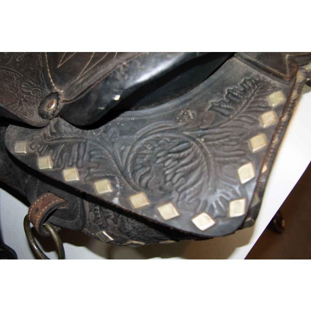 Animal Skin Antique Leather Horse Saddle For Sale - Image 7 of 10