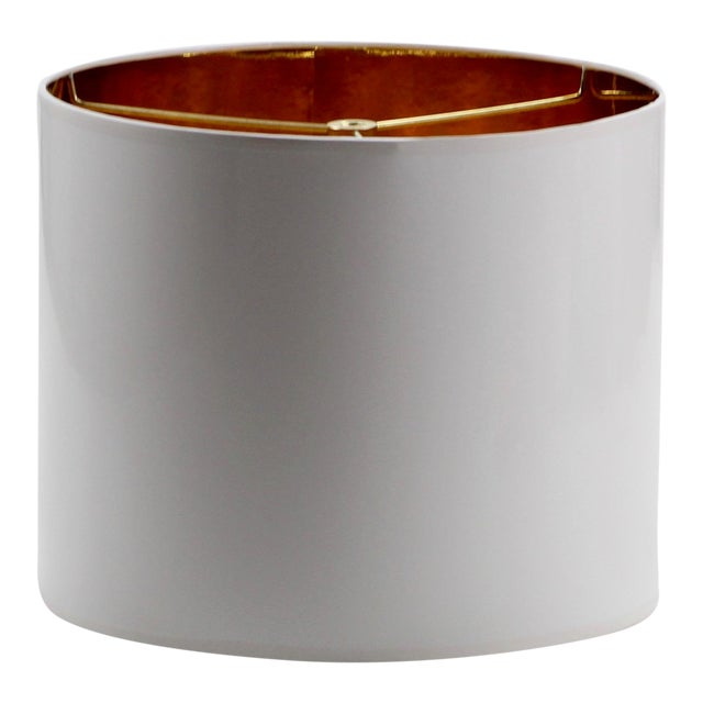 Small White High Gloss Drum Lamp Shade For Sale