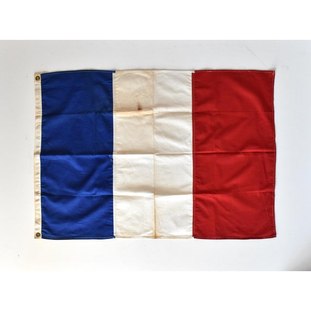 French Provincial Vintage Hand-Sewn French Tricolore Flag For Sale - Image 3 of 7