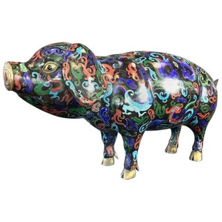 Vintage Uncommonly Large Chinese Cloisonné Pig For Sale