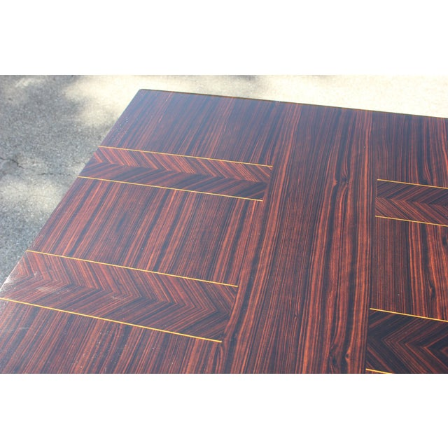 Art Deco 1940s Art Deco Exotic Macassar Ebony Writing Desk / Dining Table For Sale - Image 3 of 13