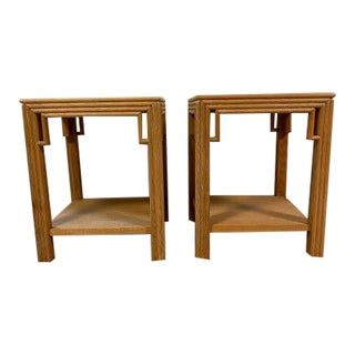 Ming West Elm Cerused Side Tables - a Pair For Sale