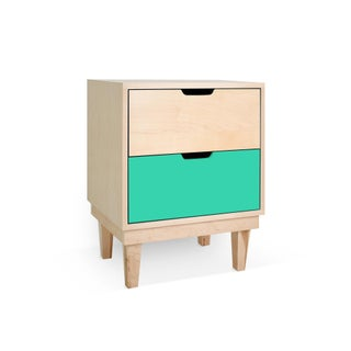 Kabano Modern Kids 2-Drawer Nightstand in Maple With Mint Finish Preview