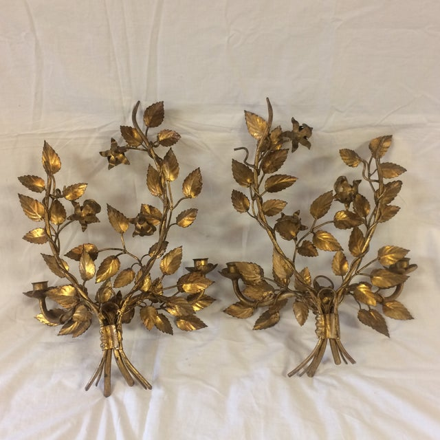 Vintage Gilded Metal Tole Candle Sconces - a Pair For Sale - Image 5 of 11