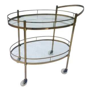 1960's French Brass and Glass Bar Cart With Removable Handle For Sale