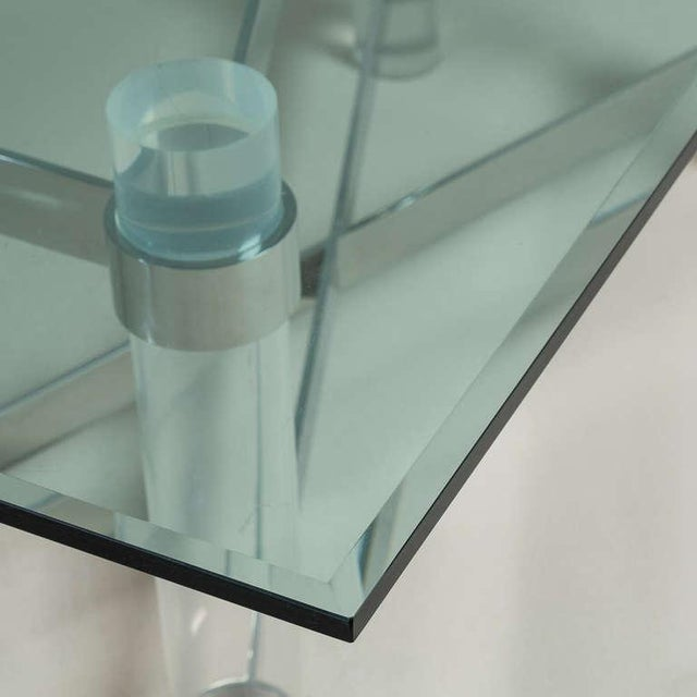 Metal A Superb Lucite and Chromium Steel Based Dining Table 1970s For Sale - Image 7 of 9