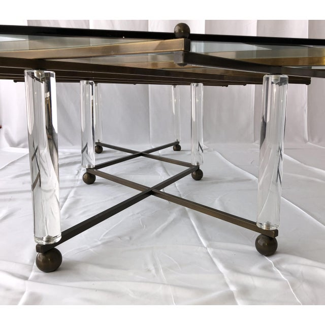 "Mid-Century Modern Custom Charles Hollis Jones ""Treillage"" Coffee Table in Brass and Lucite For Sale - Image 3 of 13"
