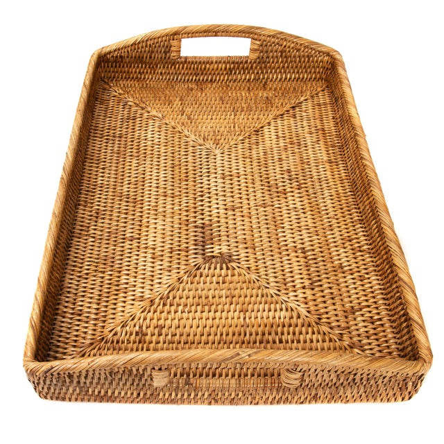 "2010s Artifacts Rattan Rectangular Tray 21""x14""x2"" For Sale - Image 5 of 6"