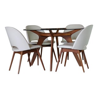 Adrian Pearsall Dining Set with Compass Table and Four 1404-C Dining Chairs For Sale