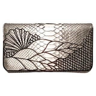 Judith Leiber Silver Faux Snakeskin Python Clutch For Sale
