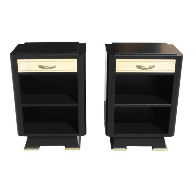 Classic Pair Of French Art Deco Parchment/ Ebonized Side Table / Nightstands, Circa 1940's - Image 11 of 11