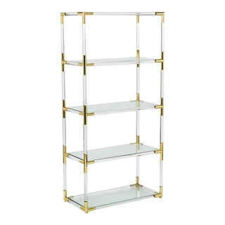 Lucite and Brass Etagere Bookcase For Sale