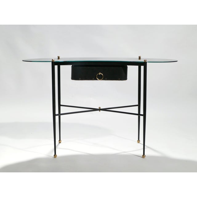 Jacques Adnet Leather Desk Vanity With Stool, 1940s For Sale - Image 10 of 13