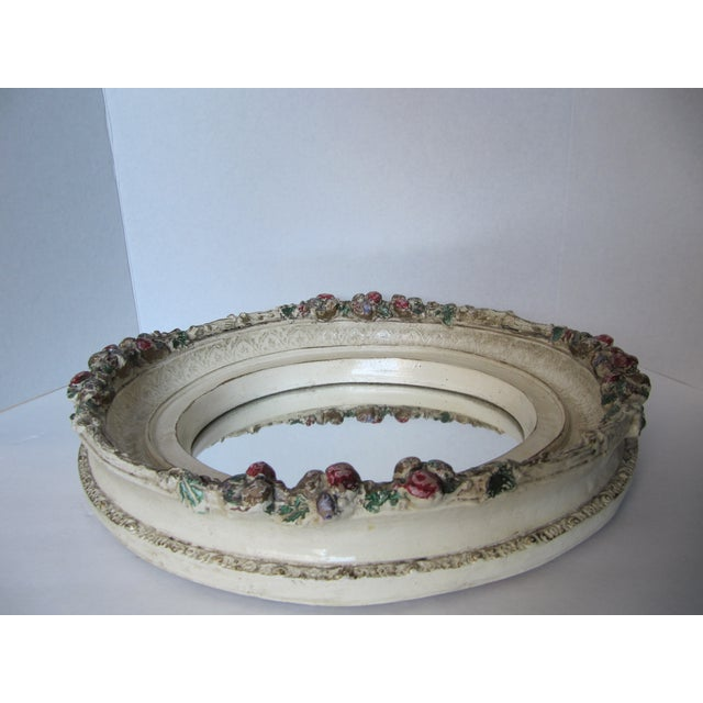 Oval Distressed Flower Mirror - Image 7 of 8