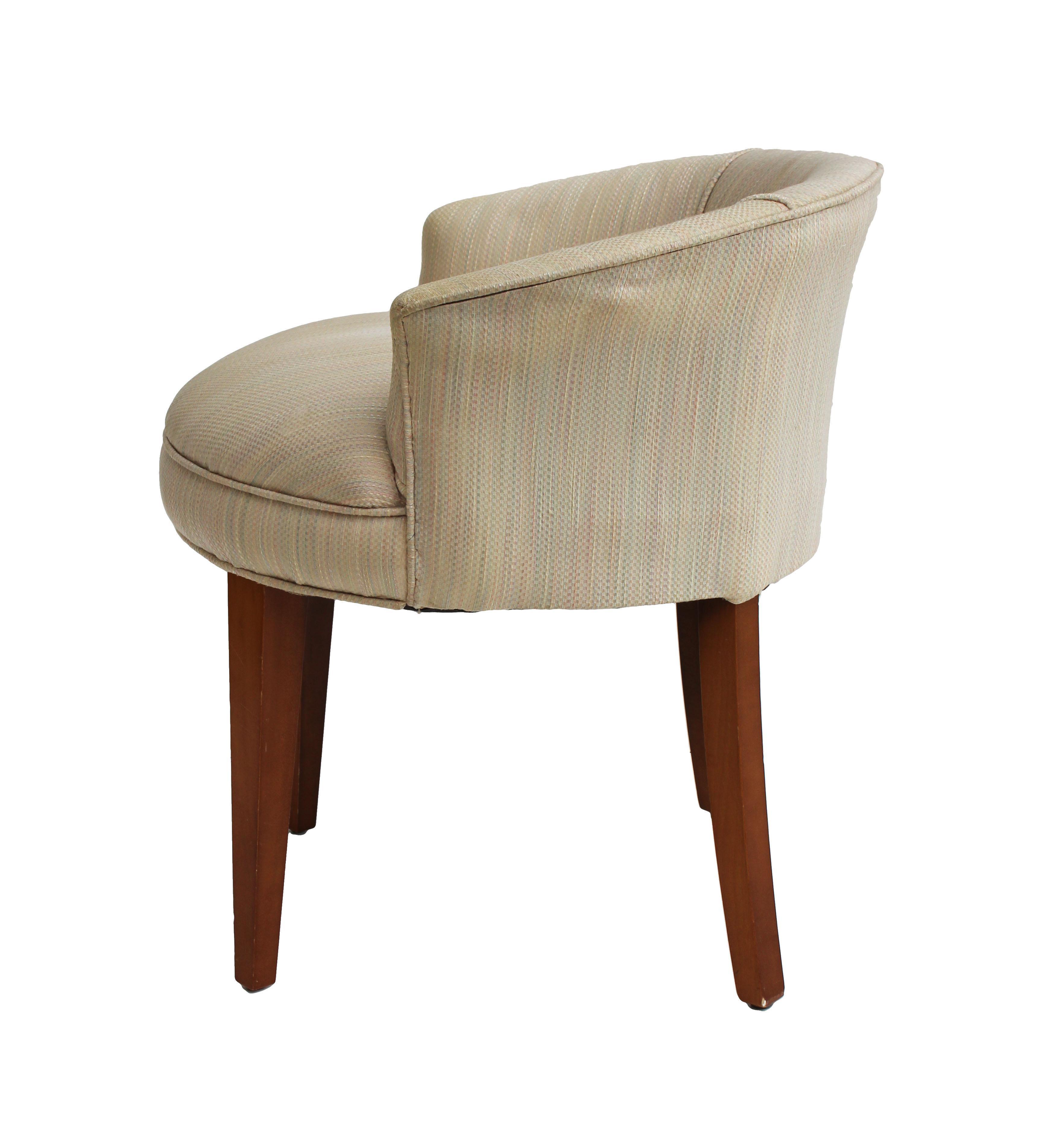 low vanity stool  Mid-Century Low-Backed Vanity Stool | Chairish