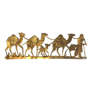 Mid 20th Century Brass Camel Sculptural Wall Art For Sale