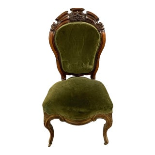 Antique Victorian Parlor Chair with Carved Wood and Velvet Upholstery For Sale