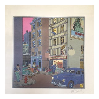 "1983 Signed Joost Swarte ""Morning Twilight"" Offset Printed Poster For Sale"