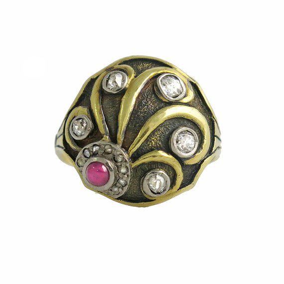 Cozzolino Art Deco 18k Gold Diamond and Ruby Ring For Sale - Image 4 of 4