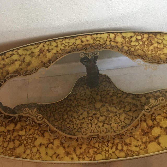 Figural Hollywood Regency Art Deco Gold Marbled Mirror Coffee Table - Image 4 of 9