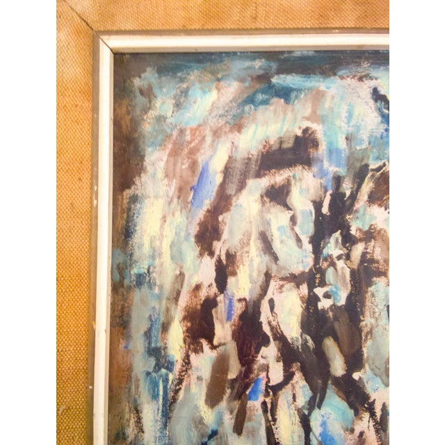 "Abstract Belgium Impressionistic ""Horses in Forrest"" Oil Painting For Sale - Image 3 of 6"