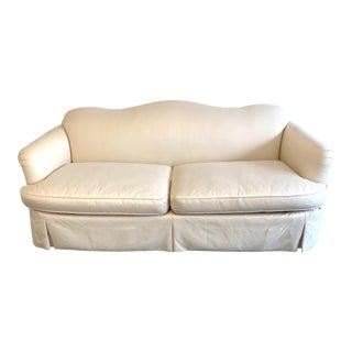 Ivory Linen Custom Camelback Sofa For Sale