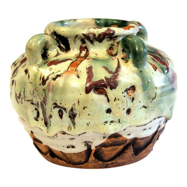 Awaji Pottery Manipulated Jar Gloppy Drip Glaze Zen Tea Ceremony Vase For Sale