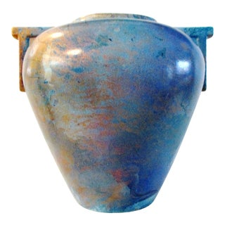1980s Neoclassical Ocean Waters Pottery Vase For Sale