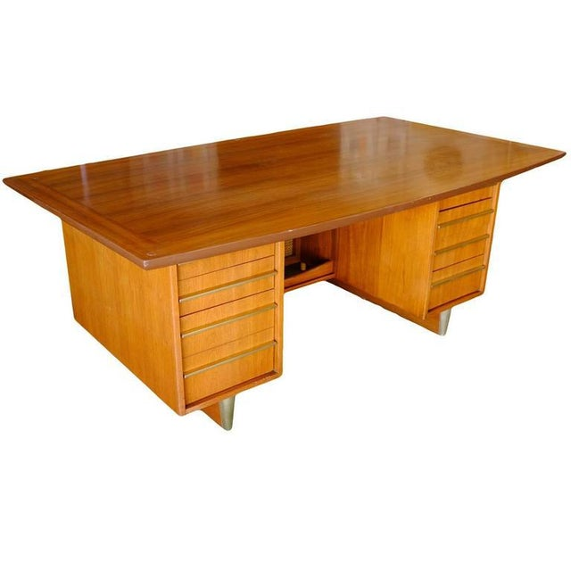 Mid-Century Mahogany Executive Desk With Brass Pulls - Image 1 of 10
