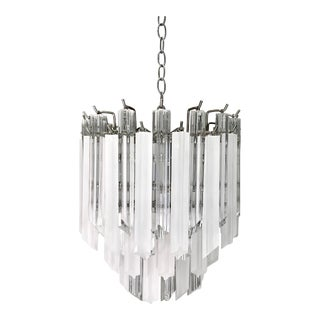Mid Century 4-Tier Lucite Camer/Venini Style Chandelier For Sale