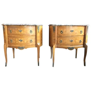 Pair of Marble Top Louis XV Style Oval Inlaid Commodes, Nightstands or Chests For Sale