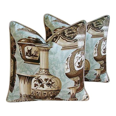 Custom Braemore Chinoiserie Vase Pillows - A Pair For Sale