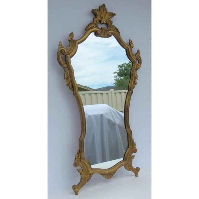 Mid-Century Modern Vintage C.1950's Hollywood Regency Era Italian Venetian Gilt Gold Leaf Carved Mirror For Sale - Image 3 of 13