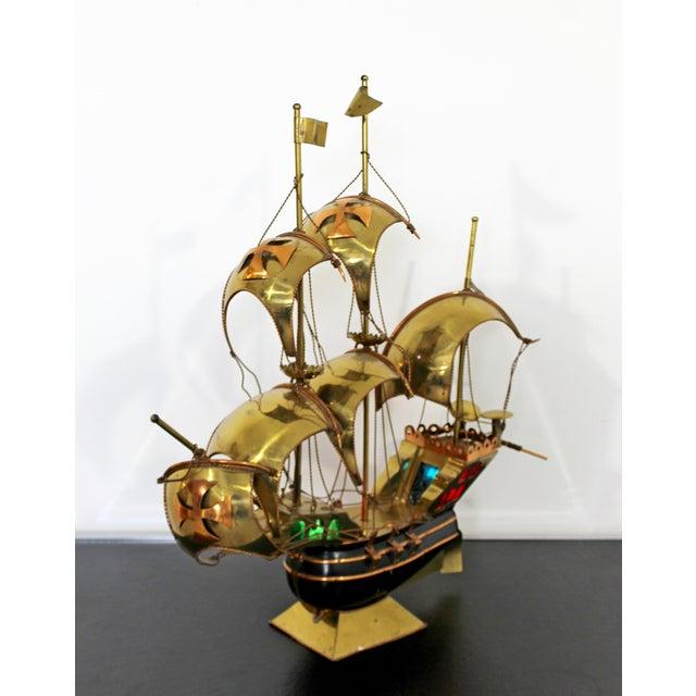 Mid-Century Modern Mid Century Modern Light Up Brass Copper Sailing Sculpture Bijan Jere Era 1970s For Sale - Image 3 of 9