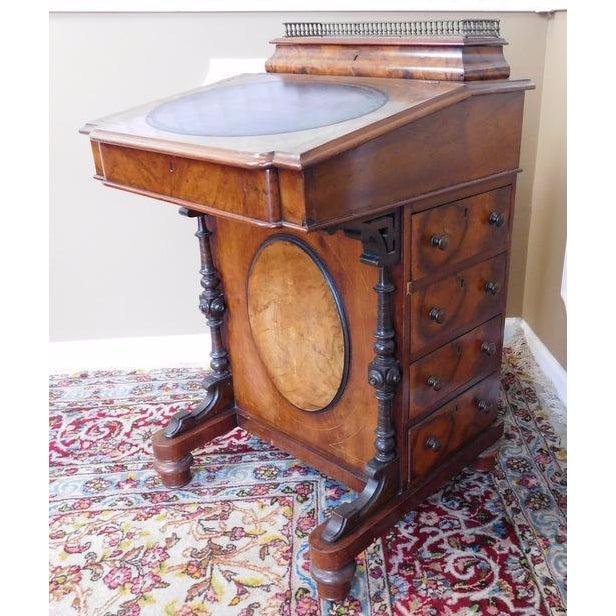 Victorian English Burl Walnut Davenport Desk - Image 5 of 9