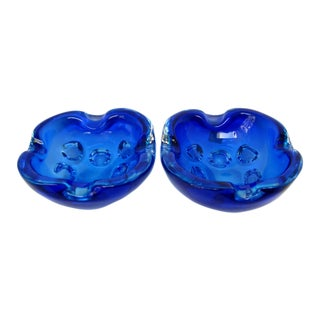 Murano Glass Ashtrays, a Pair For Sale