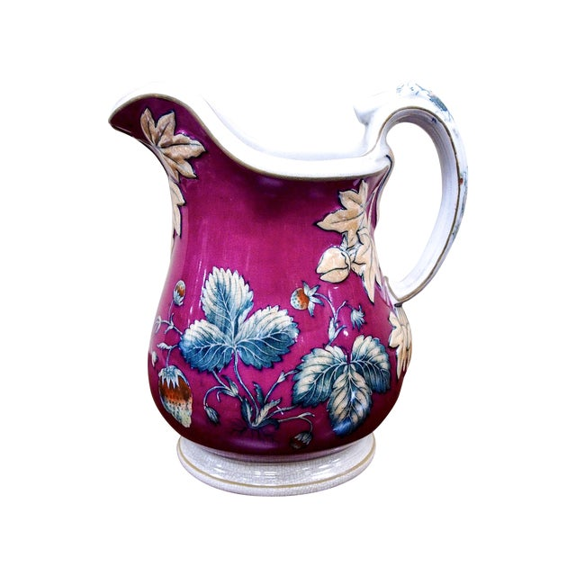 19th Century Davenport Pottery Strawberry Pitcher - Image 1 of 7