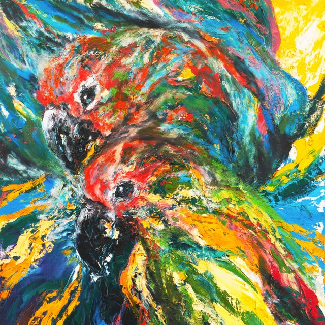 1990s 'Pair of Parrots' by Rosemary Hornak, 1992; American Expressionist For Sale - Image 5 of 8