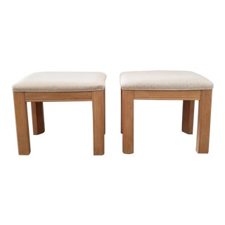 Vintage 1980s Bernhardt Furniture Blonde Parsons Benches- - a Pair For Sale