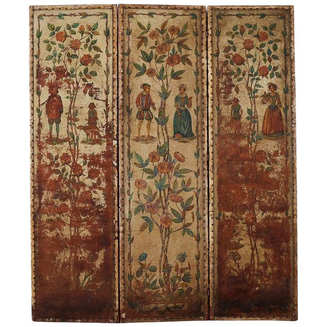 19th Century English Renaissance Revival Leather Painted Screen For Sale