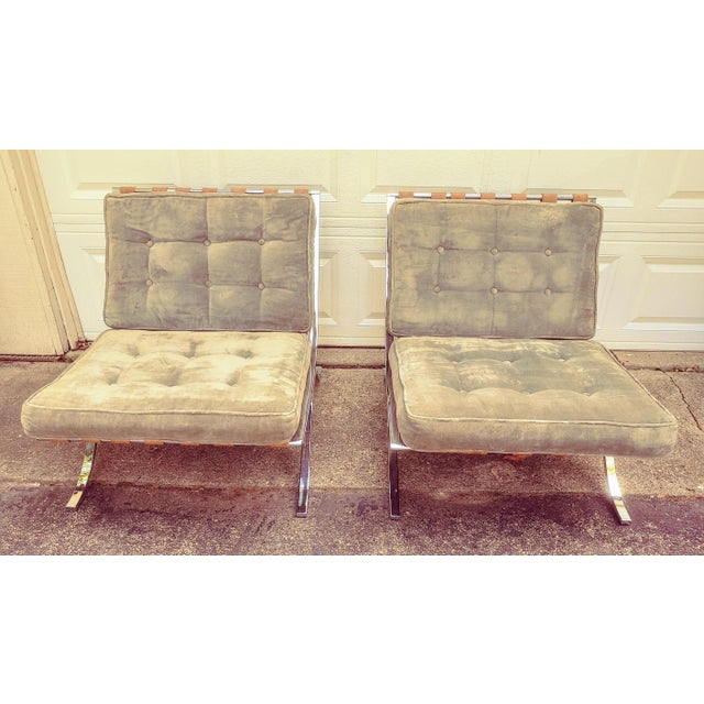 Mid Century Italian Barcelona Cloth Chairs For Sale - Image 10 of 10