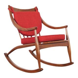 Mid Century Modern Walnut Rocking Chair For Sale