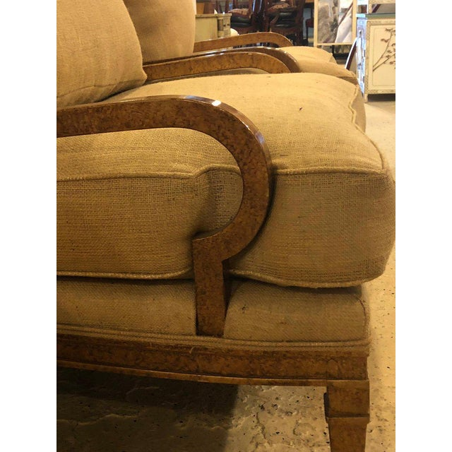 Hollywood Regency Pair of Burlap Faux Marbleized Bergère or Armchairs For Sale - Image 4 of 13