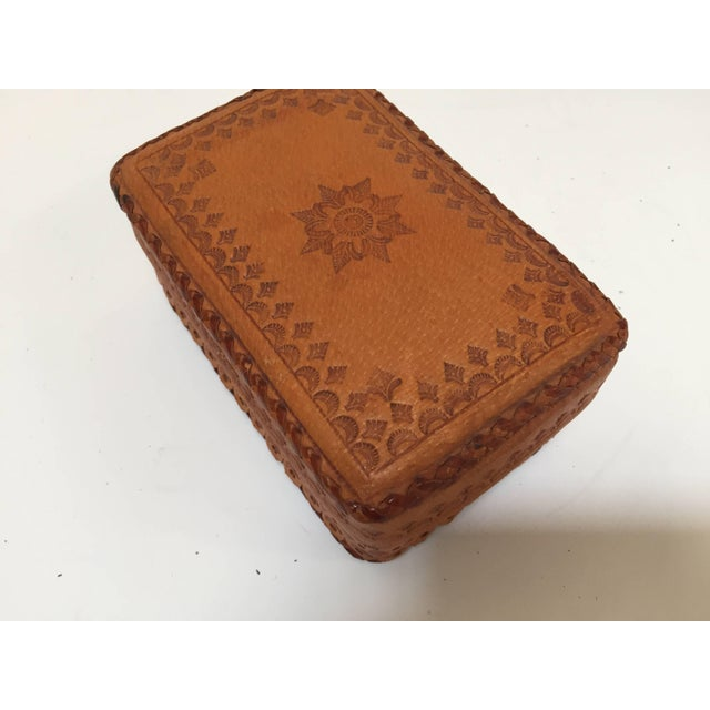 Wood Leather Vintage Brown Box Hand Tooled in Morocco With Tribal African Designs For Sale - Image 7 of 13